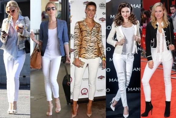 Осенний образ с белыми джинсами