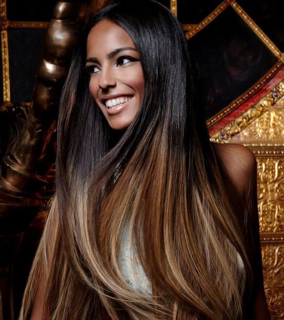 Темно коричневые волосы с карамельным