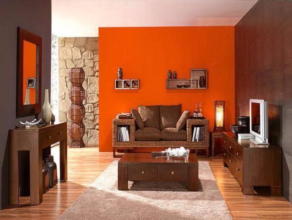 Оранжевый цвет интерьера