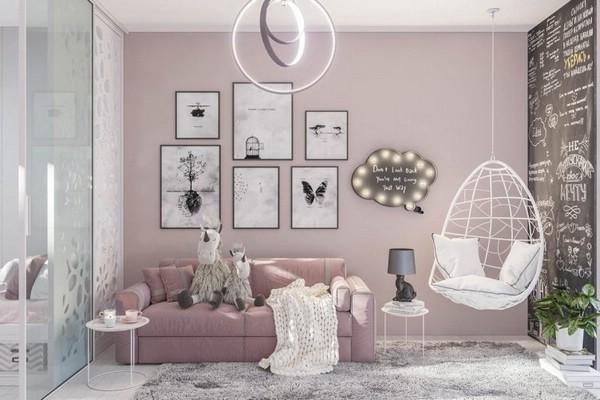 розовый цвет интерьера