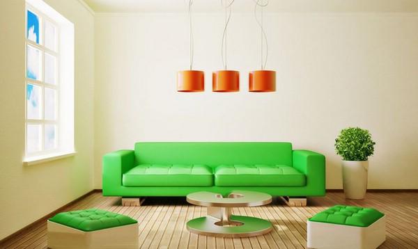 зелёный цвет интерьера